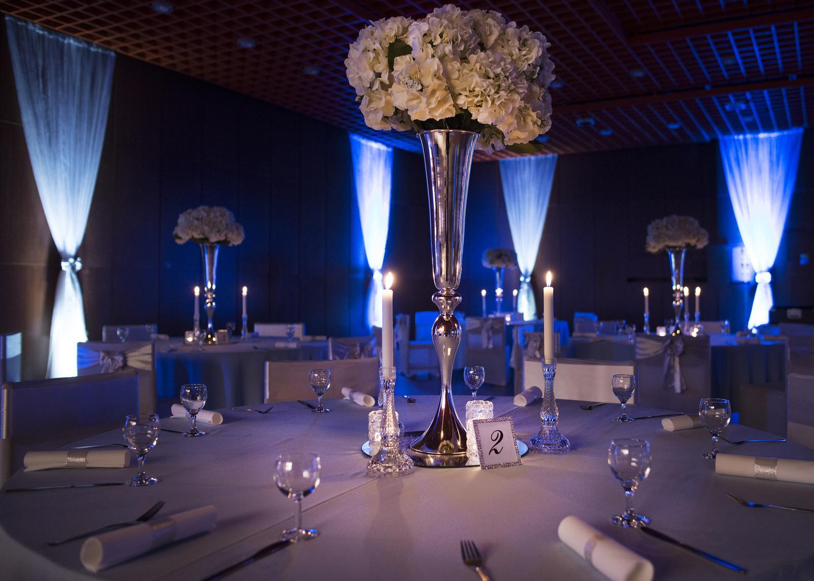 prenajom - vysoká strieborná váza - Obrázok č. 3