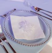 klubové taniere so striebornými perličkami,