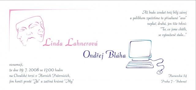 Linduška a Ondra - naše oznámení
