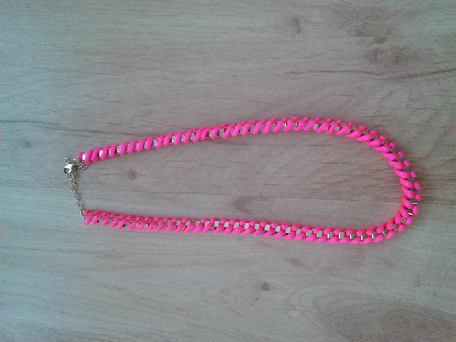Náhrdelník, retiazka ružová neon - Obrázok č. 1