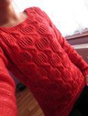 červený svetřík se zlatou nitkou, S