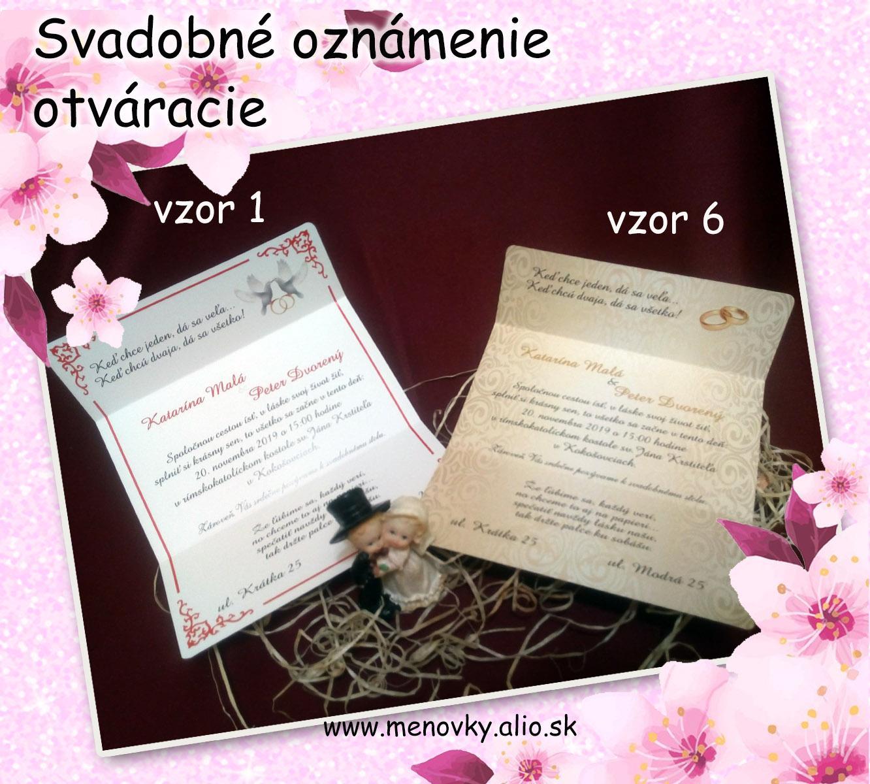 Svadobne oznamenia - otvaracie svadobne oznamenie