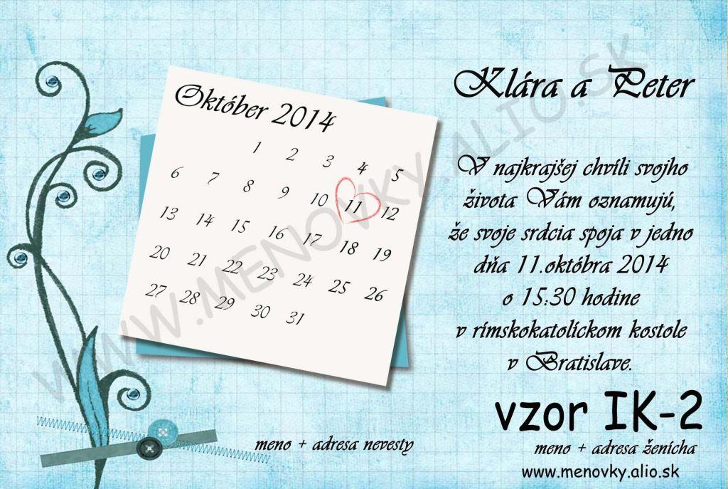 svadobne oznamenia s kalendarom - Obrázok č. 2
