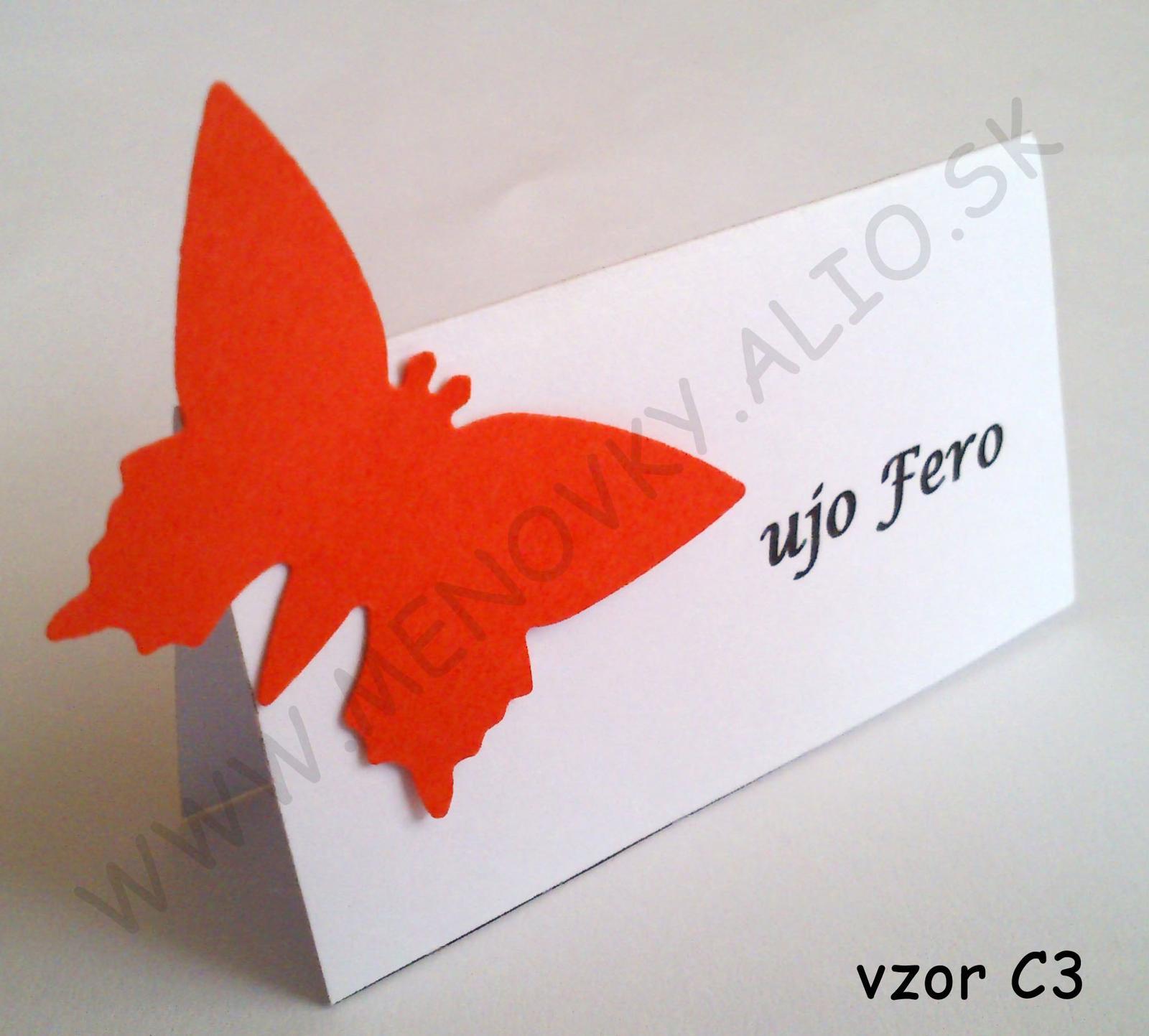 menovky na stol jednofarebne s motylikom - Obrázok č. 2