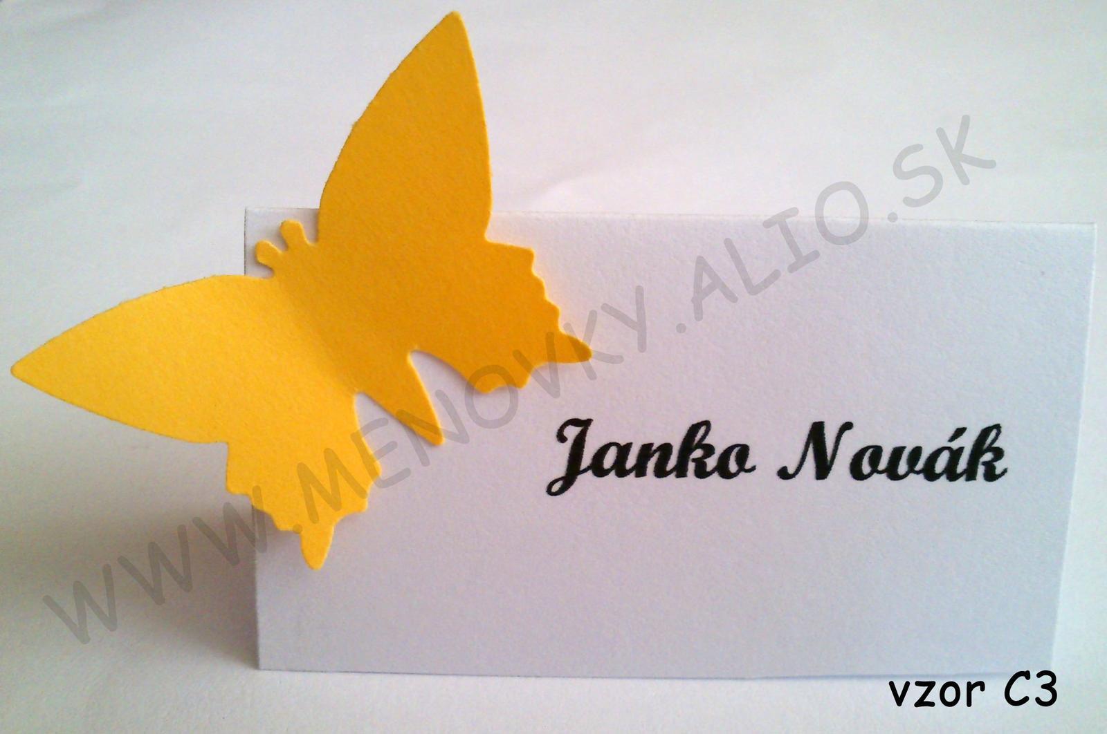 menovky na stol jednofarebne s motylikom - Obrázok č. 3