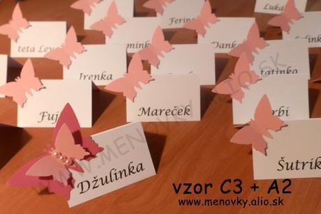menovky na stol jednofarebne s motylikom - Obrázok č. 1