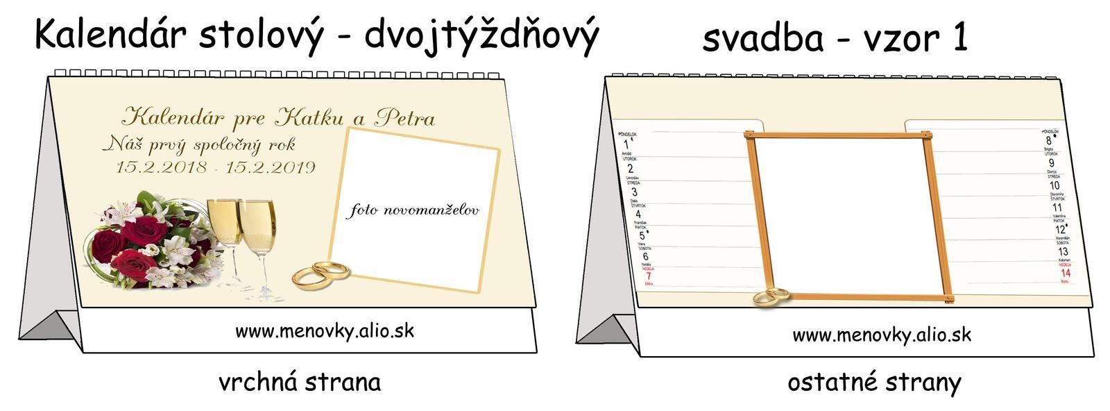 kalendar stolovy ako darcek pre novomanzelov - Obrázok č. 1