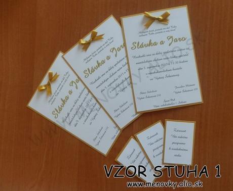 svadobne oznamenie a pozvanka k stolu so stuhou - Obrázok č. 1
