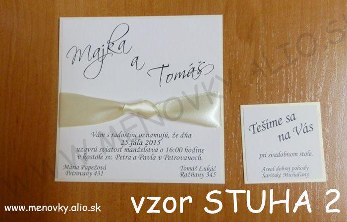 svadobne oznamenie a pozvanka k stolu so stuhou - Obrázok č. 2