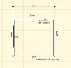 Taky je priestor kuchyne. Vchod z obyvacky, kde bude velky jedalensky stol, oproti vchod do spajze a vlavo okno.