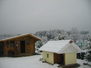 domečky pro pejsky, ale nejraději se válí ve sněhu...