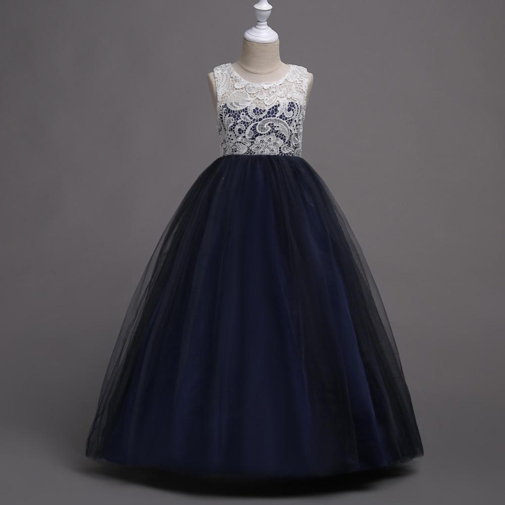 Detské šaty - dlhé - Detské šaty WGL-569 , tmavomodré (122 - 164), cena 29,90 €