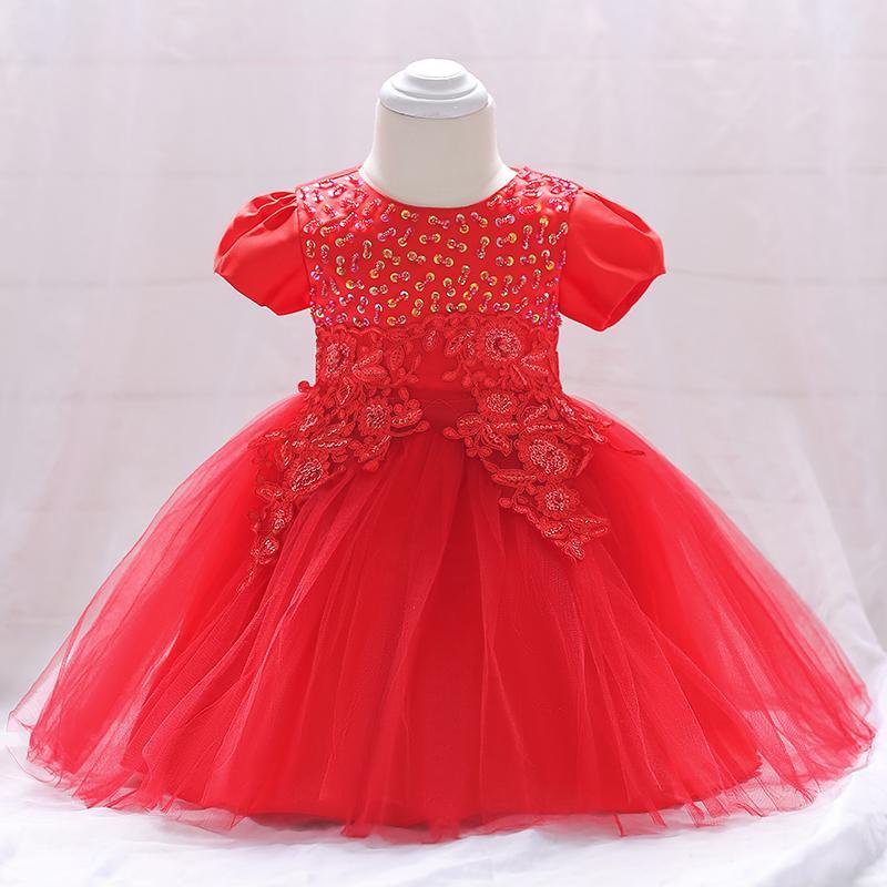 Šaty pre malé princezničky (74 - 98) - Detské šaty L1865XZ - červené (74 - 98) cena 23,90 €
