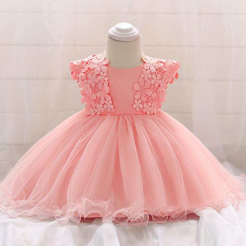 Šaty pre malé princezničky (74 - 98) - Detské šaty L1838XZ - lososové (74 - 98) cena 23,90 €
