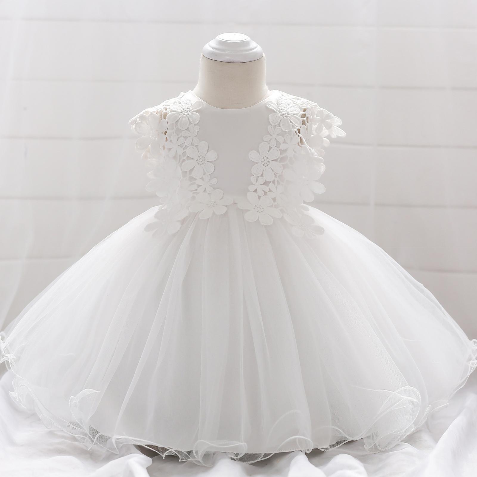 Šaty pre malé princezničky (74 - 98) - Detské šaty L1838XZ - biele (74 - 98) cena 23,90 €
