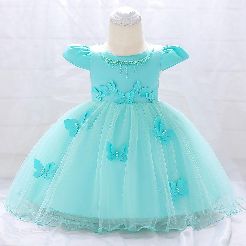 Šaty pre malé princezničky (74 - 98) - Detské šaty L1867XZ - tyrkysové (74 - 98) cena 23,90