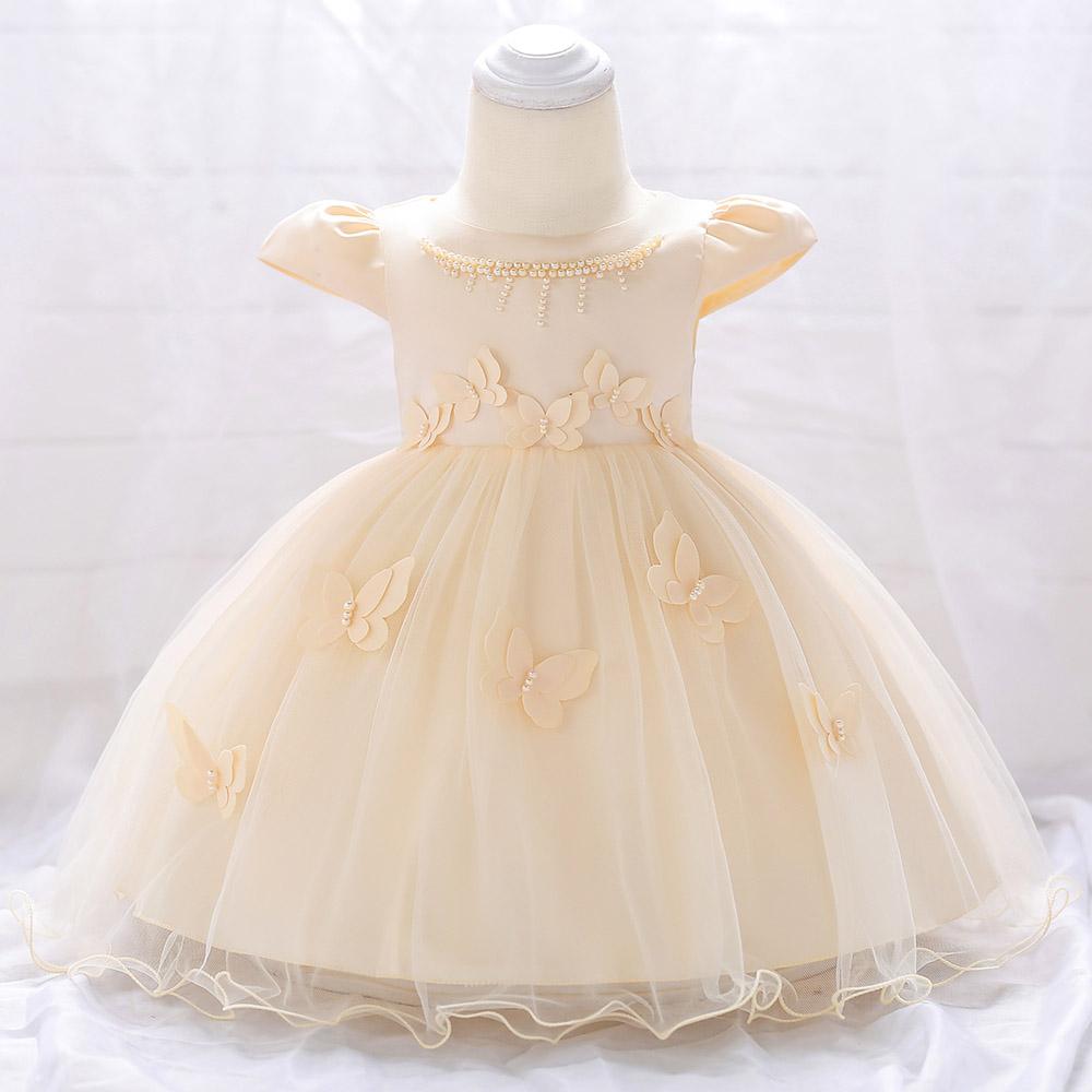 Šaty pre malé princezničky (74 - 98) - Detské šaty L1867XZ - krémové (74 - 98) cena 23,90 €