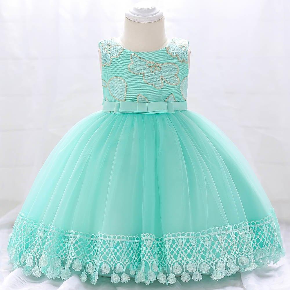Šaty pre malé princezničky (74 - 98) - Detské šaty L1843XZ - tyrkysové (74 - 98) cena 23,90 €