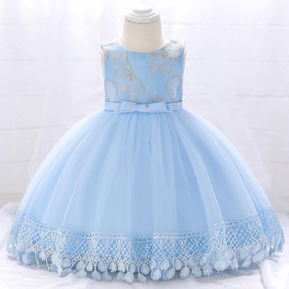 Šaty pre malé princezničky (74 - 98) - Detské šaty L1843XZ - sl. modré (74 - 98) cena 23,90 €