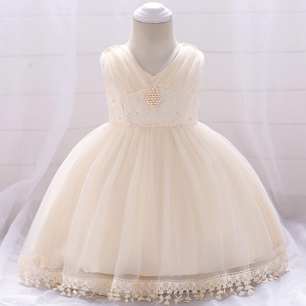 Šaty pre malé princezničky (74 - 98) - Detské šaty L1835 - krémové (74 - 98) cena 23,90 €