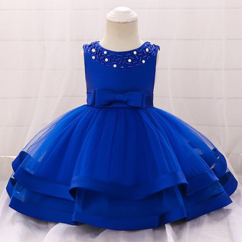 Šaty pre malé princezničky (74 - 98) - Detské šaty L5017XZ - modré (74 - 98)