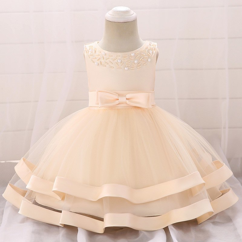 Šaty pre malé princezničky (74 - 98) - Detské šaty L5017XZ - krémové (74 - 98)