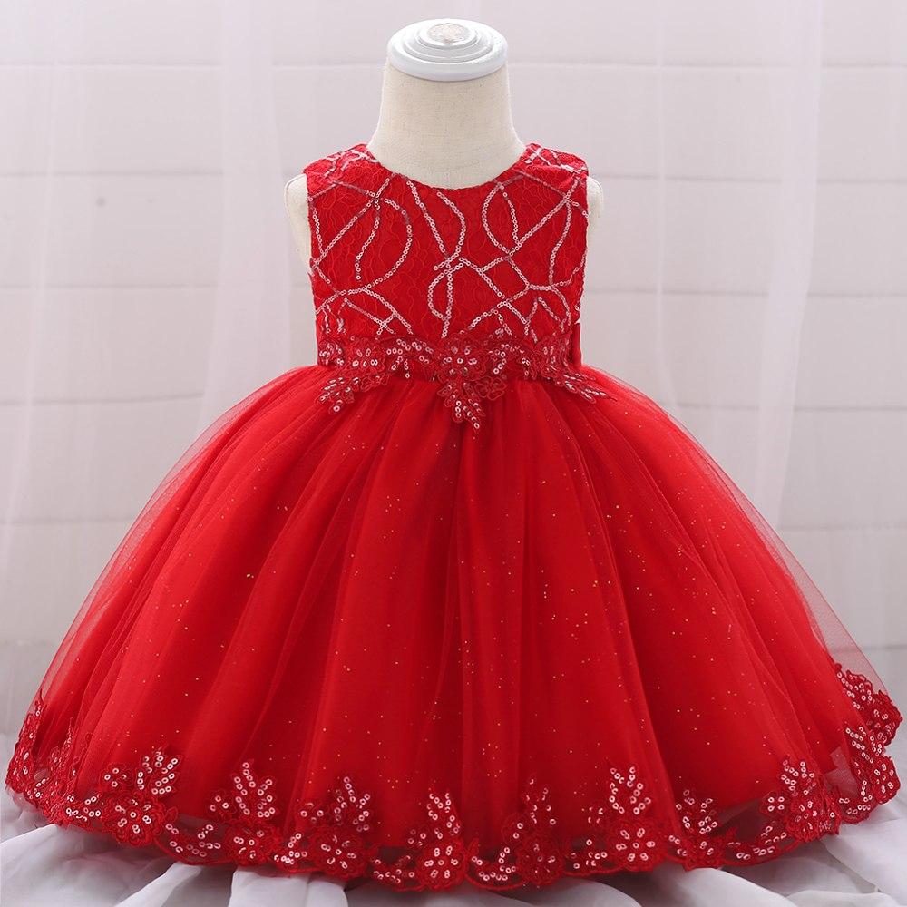 Šaty pre malé princezničky (74 - 98) - detské šaty L1879XZ - červené (74 - 98)