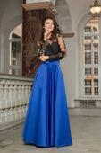 modrá saténová sukňa s vreckami, skladom, S
