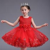 detské šaty L7791 - červené (92 - 146), 128