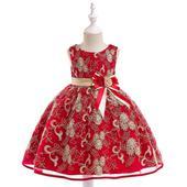 detské šaty L9030 - červené (110 - 146), 140