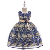 detské šaty L9030 - modré (110 - 146), 128