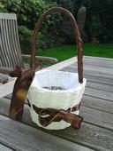 Košíček pro družičku s hnědou mašlí,