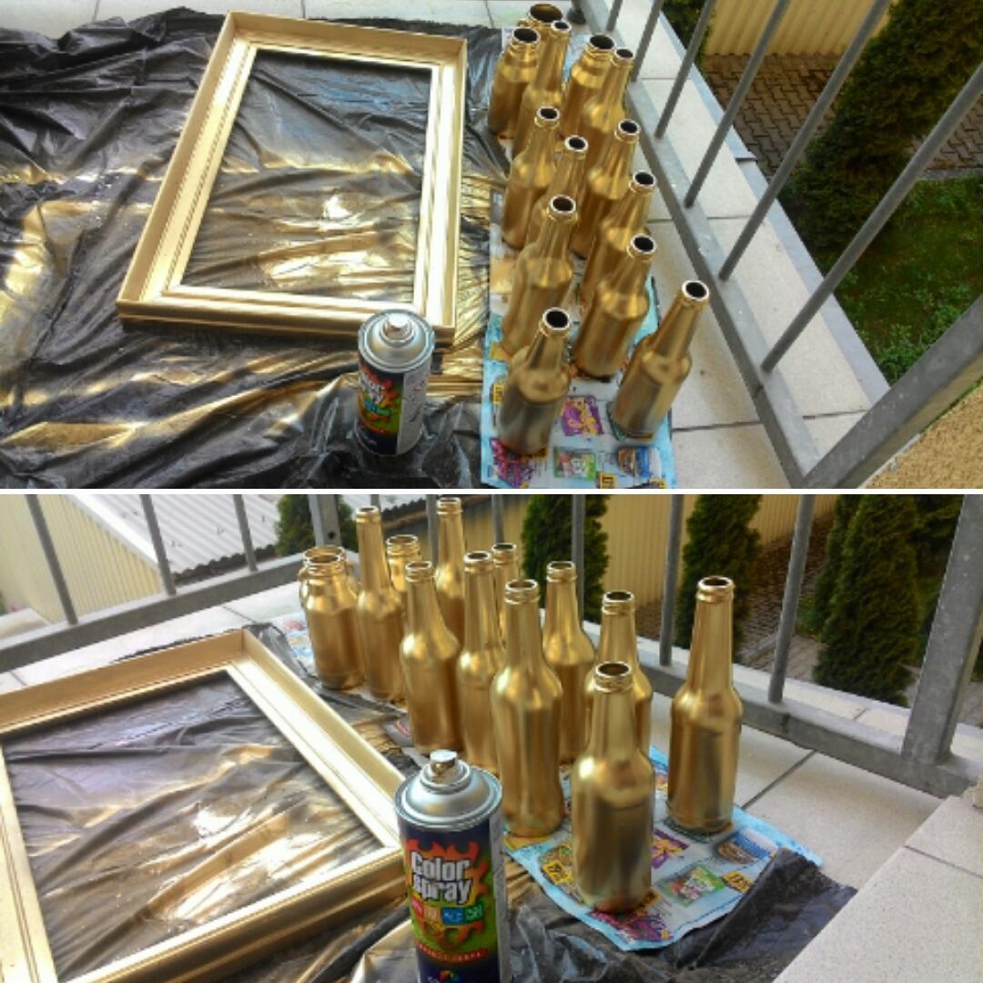 ♥M+P♥ Přípravy - Sprejujeme, tvoříme...vázičky na stůl a rám od obrazu :-)