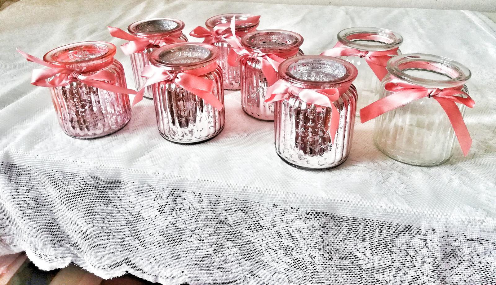 Růžové svícny na čajovou svíčku 6ks - Obrázek č. 1