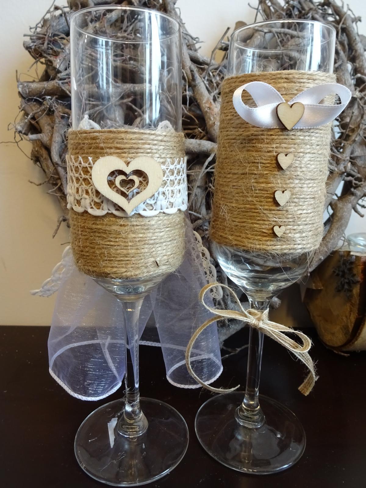 Přípitkové skleničky nevěsta a ženich  - Obrázek č. 1