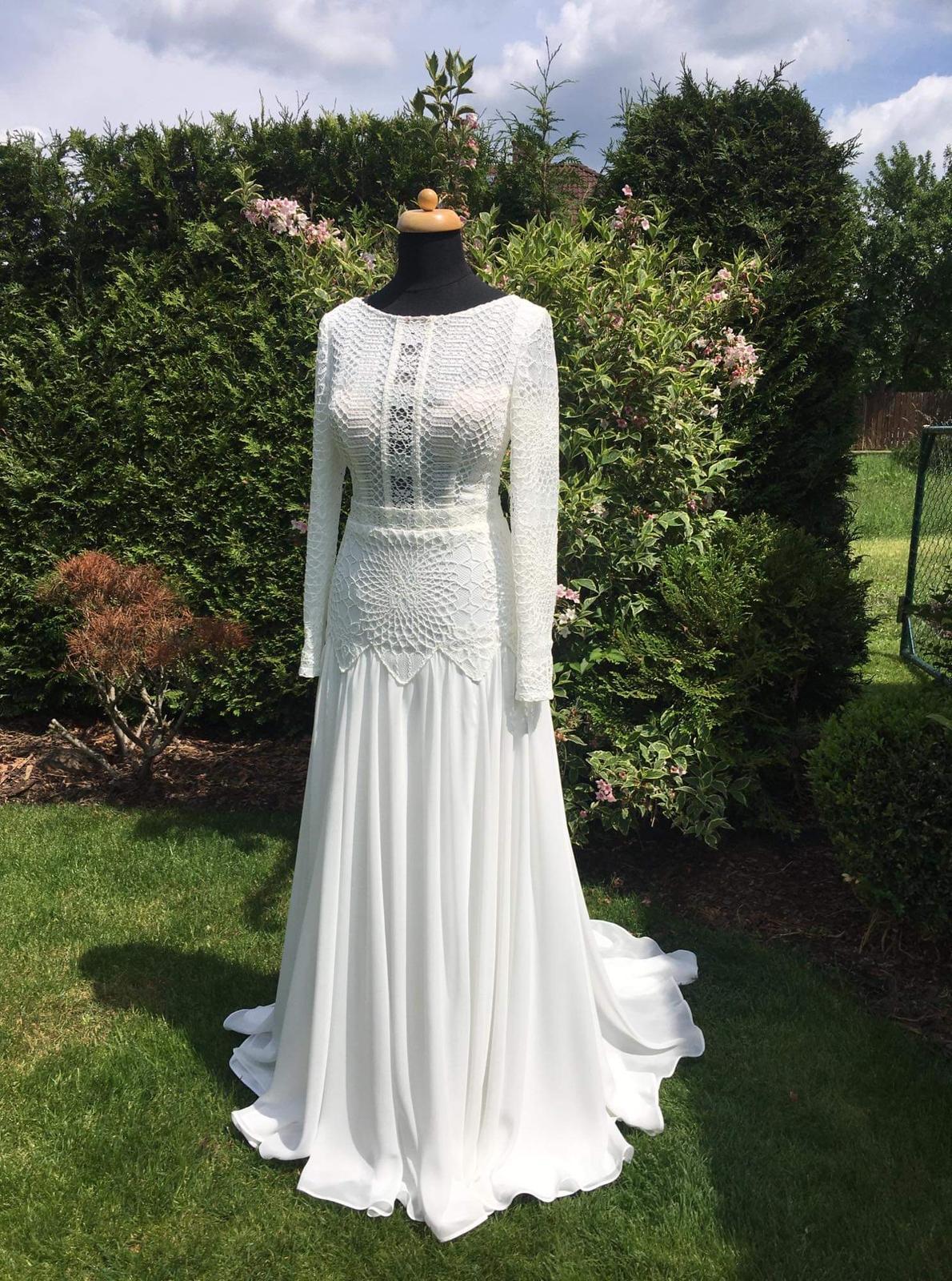 Svatební šaty – BOHO STYL, vel. 34, barva IVORY. Model 2020. - Obrázek č. 4