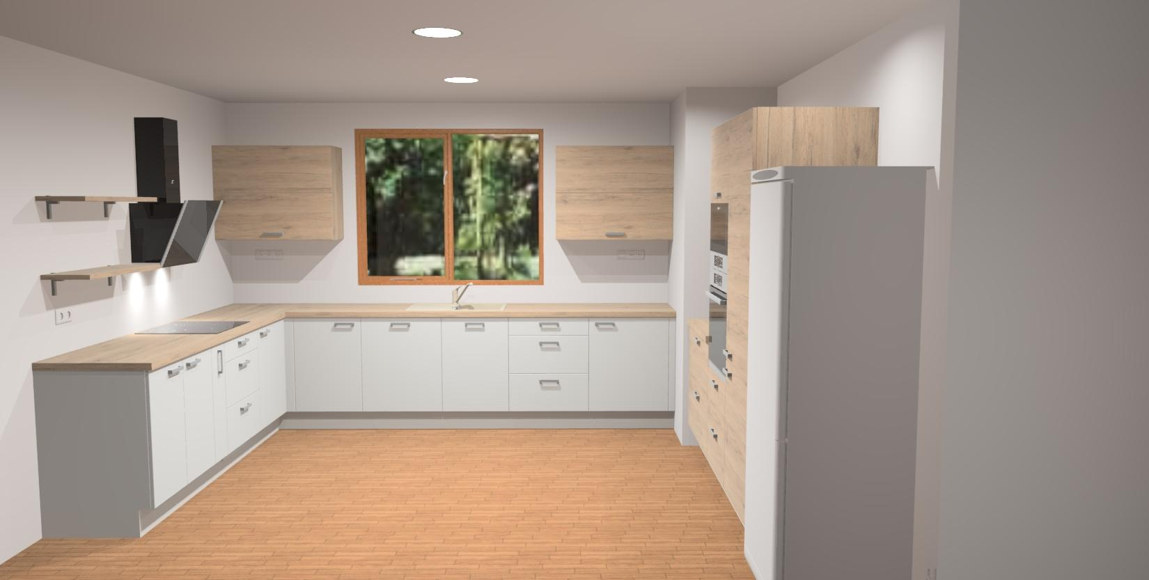 """Stěhování na venkov - plány - Kuchyň plánujeme do tvaru """"U"""" ... rozměry 2,65 x 3,5 x 2,65m se samostojící lednicí"""